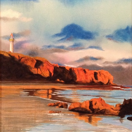 """(CreativeWork) """"White Lady"""", Airey Inlet Lighthouse, VIC by John Gambardella. Acrylic Paint. Shop online at Bluethumb."""
