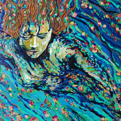 (CreativeWork) Midnight swim by Tea Ercoles. Acrylic Paint. Shop online at Bluethumb.