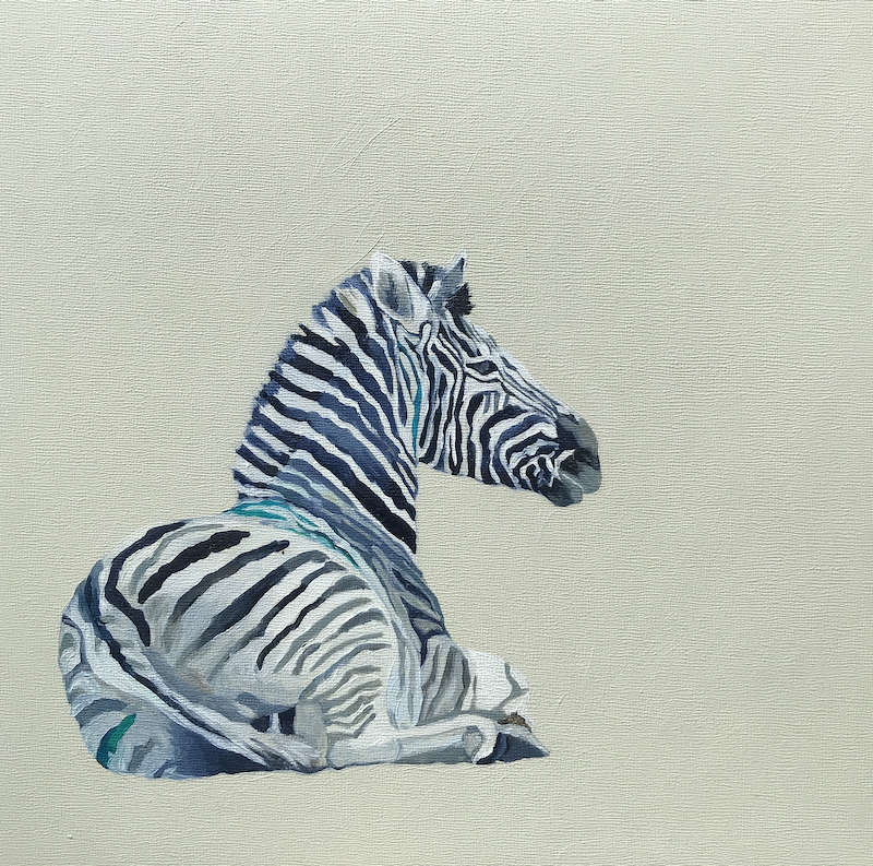 (CreativeWork) Reclining Zebra  by Lydie Paton. Acrylic Paint. Shop online at Bluethumb.