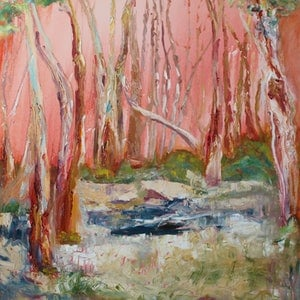 (CreativeWork) RED SKIES AT NIGHT SHEPHERD'S DELIGHT by Maureen Finck. oil-painting. Shop online at Bluethumb.