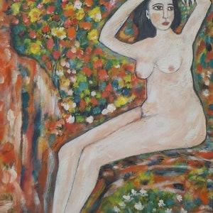 """(CreativeWork) """"Nude on a rock"""" by Catherine Walker. acrylic-painting. Shop online at Bluethumb."""