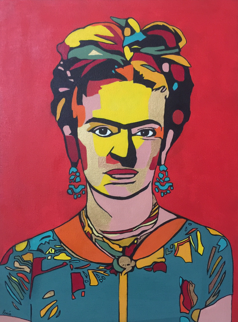 (CreativeWork) Frida Kahlo- Red Fire Rooster by Renia Lakomy Edwards. arcylic-painting. Shop online at Bluethumb.