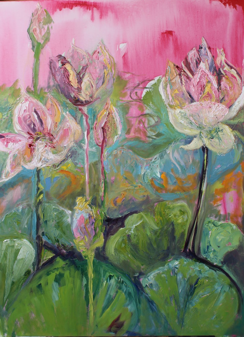 The lotus flower rises from the mud the lotus flower rises from the mud by maureen finck oil izmirmasajfo