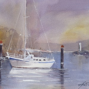 (CreativeWork) ON THE PILE MOORING by Anki Wickison. watercolour. Shop online at Bluethumb.