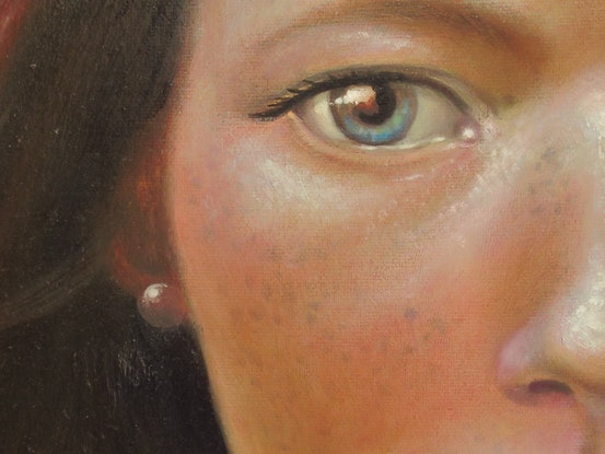 (CreativeWork) A girl with a Pearl ear ring by Jamie Brown. Oil. Shop online at Bluethumb.