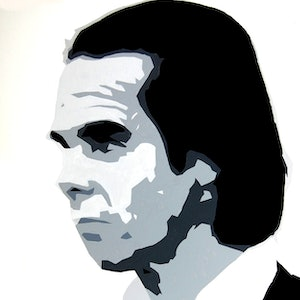 (CreativeWork) Nick Cave by Colin Rowe. arcylic-painting. Shop online at Bluethumb.