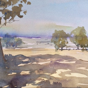 (CreativeWork) Mansfield View 2 , High Country , Victoria by Geoff Stanistreet. watercolour. Shop online at Bluethumb.