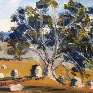 (CreativeWork) Along the Lancefield-Woodend Road by Margaret Morgan (Watkins). oil-painting. Shop online at Bluethumb.