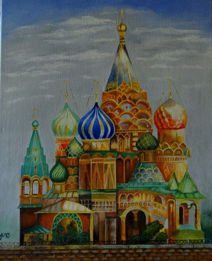 (CreativeWork) St. Basil's, Moscow. by Evelyn James. arcylic-painting. Shop online at Bluethumb.