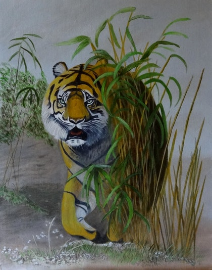 (CreativeWork) Bamboo Tiger by Evelyn James. arcylic-painting. Shop online at Bluethumb.