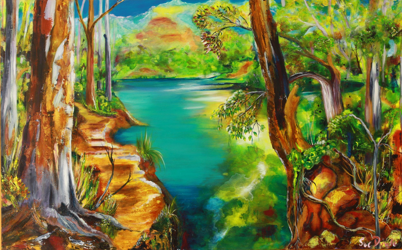 (CreativeWork) River Dreaming by Sue Dingle. Acrylic Paint. Shop online at Bluethumb.