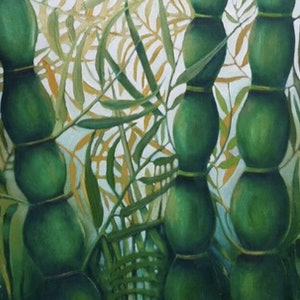 (CreativeWork) Bambusa by Tracey Knowland. oil-painting. Shop online at Bluethumb.