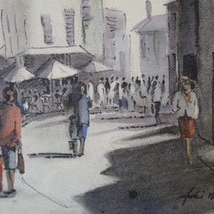 (CreativeWork) BUSY STREET by Anki Wickison. drawing. Shop online at Bluethumb.