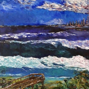 (CreativeWork) Winter Across the Bay by Noela O'Keefe. mixed-media. Shop online at Bluethumb.