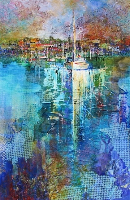 (CreativeWork) Steaming out from Manly by De Gillett. mixed-media. Shop online at Bluethumb.