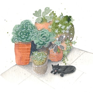 (CreativeWork) Afternoon snooze by Daniella Germain. watercolour. Shop online at Bluethumb.