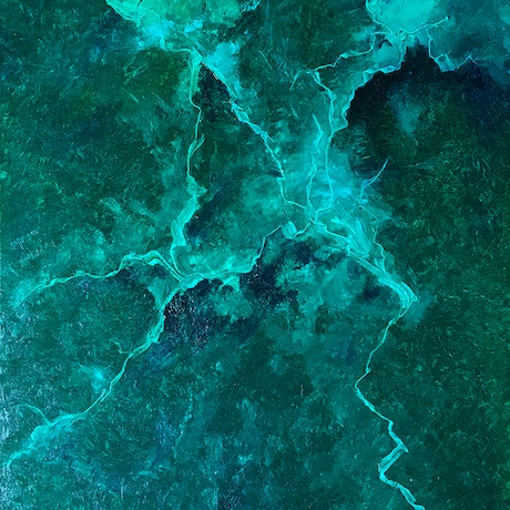 """(CreativeWork) """"Green Lightning"""" by David Clare. Oil Paint. Shop online at Bluethumb."""