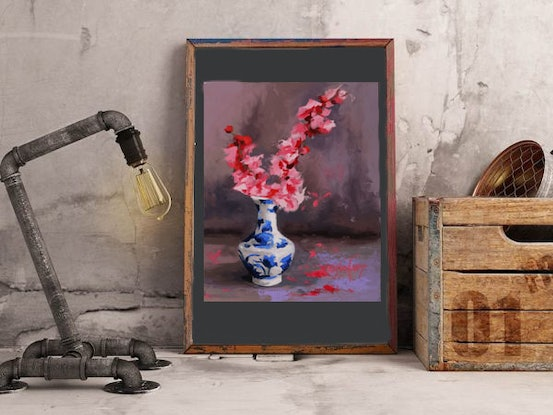 (CreativeWork) Japanese Blossoms by Mirjana Psakis. Oil Paint. Shop online at Bluethumb.