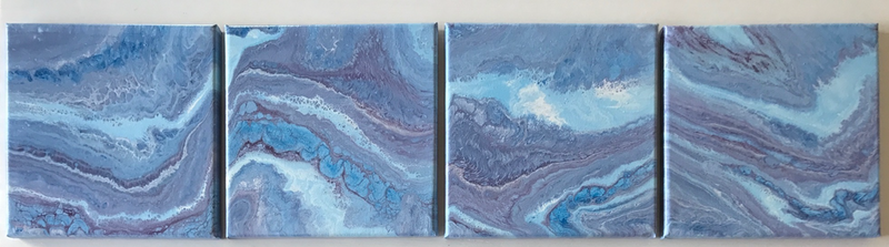 "(CreativeWork) ORIGINAL ABSTRACT ART PAINTINGS x 4  ON STRETCHED CANVAS  ""ROCK CANDY""  BLUE WHITE PURPLE  by Debra Ryan. mixed-media. Shop online at Bluethumb."