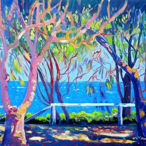 (CreativeWork) Burleigh Heads Foreshore  by Virginia McGowan. oil-painting. Shop online at Bluethumb.