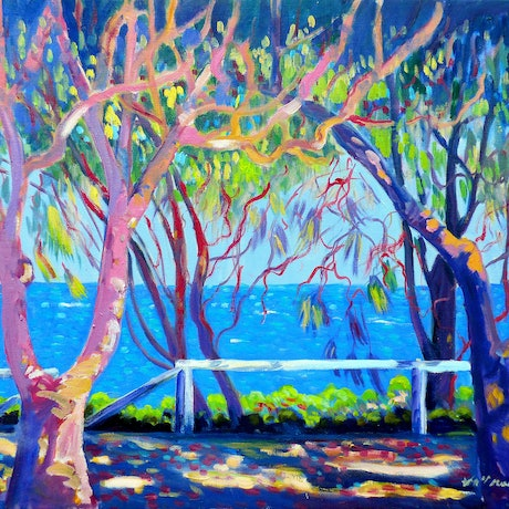 (CreativeWork) Burleigh Heads Foreshore  by Virginia McGowan. Oil Paint. Shop online at Bluethumb.