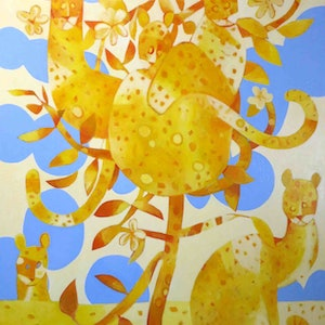 (CreativeWork) Cats in Frangipani Number 2 by John Graham. oil-painting. Shop online at Bluethumb.