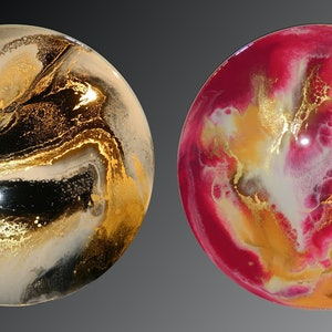 (CreativeWork) DOUBLE-SIDED RESIN PAINTING - GOLD RUSH / SHERBERT by Deborah O'Loughlin. resin. Shop online at Bluethumb.