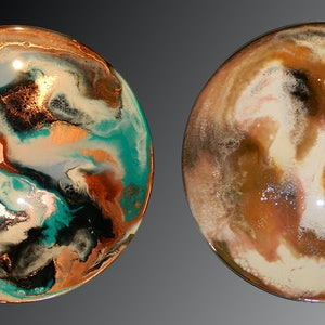 (CreativeWork) DOUBLE-SIDED RESIN PAINTING - ESPRESSO / MINT JULEP by Deborah O'Loughlin. resin. Shop online at Bluethumb.