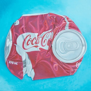 (CreativeWork) Exploded Cola Can by Rob Kennedy. oil-painting. Shop online at Bluethumb.