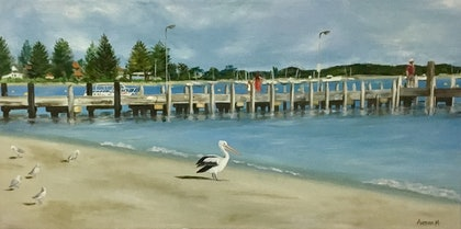(CreativeWork) Old Jetty at Rockingham Beach by Anthea Marcella. oil-painting. Shop online at Bluethumb.