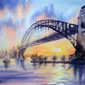 (CreativeWork) Sydney Harbour Sunset by Chrysovalantou Mavroudis. watercolour. Shop online at Bluethumb.