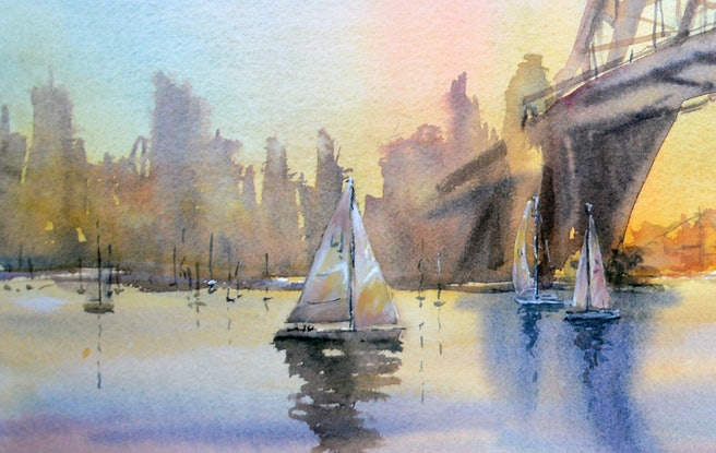 (CreativeWork) Sydney Harbour Sunset by Chrysovalantou Mavroudis. Watercolour Paint. Shop online at Bluethumb.