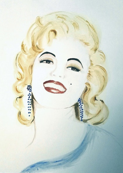 (CreativeWork) Marilyn Soft Blue by Trish Loader. watercolour. Shop online at Bluethumb.