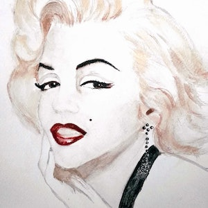 (CreativeWork) Marilyn Twinkle by Trish Loader. watercolour. Shop online at Bluethumb.