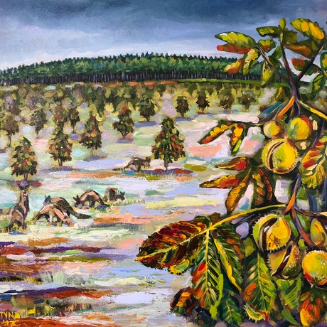 (CreativeWork) Before storm, forest 4 at the National Arboretum by Valentyna Crane. Acrylic Paint. Shop online at Bluethumb.