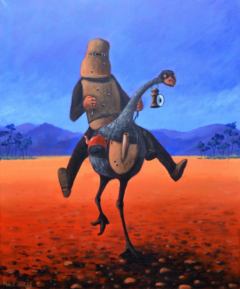 Ned Kelly And His Emu By Max Horst Sokolowski Paintings