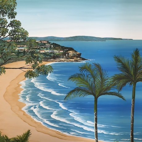 (CreativeWork) Whale Beach Sydney by Jennie Jones. Acrylic Paint. Shop online at Bluethumb.