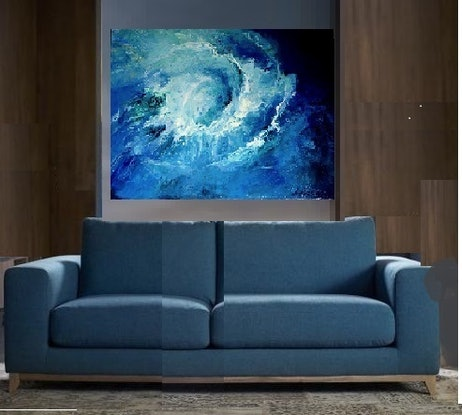 (CreativeWork) Ocean Swirl by Leeka Gruzdeff. Acrylic Paint. Shop online at Bluethumb.