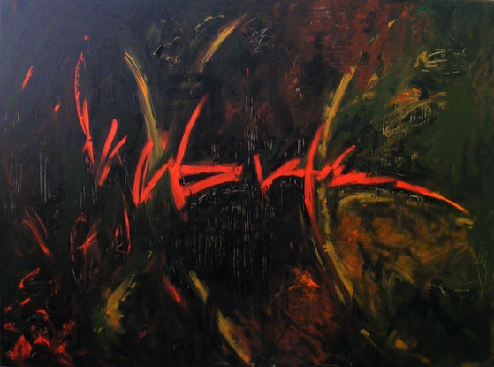 "(CreativeWork) ""Movement in Red"" by Daniela Selir. Acrylic Paint. Shop online at Bluethumb."