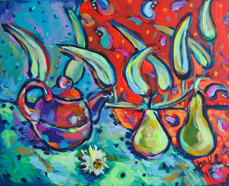 (CreativeWork) Two Pears by Katerina Apale. arcylic-painting. Shop online at Bluethumb.