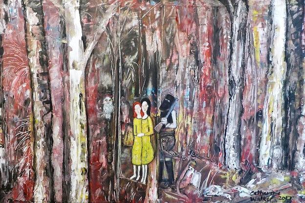 """(CreativeWork) """"Lost in the Bush with the Ghost of Ned Kelly"""" by Catherine Walker. Acrylic Paint. Shop online at Bluethumb."""