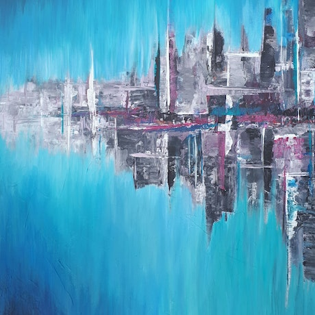 (CreativeWork) 'CITY HAZE' by Simone Melville. Acrylic Paint. Shop online at Bluethumb.