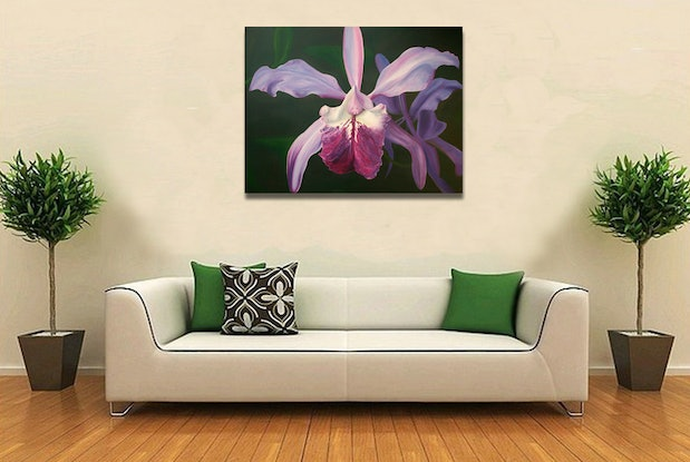 (CreativeWork) 'Orchid' Ode to Georgia by Lyndsey Hatchwell. Acrylic Paint. Shop online at Bluethumb.