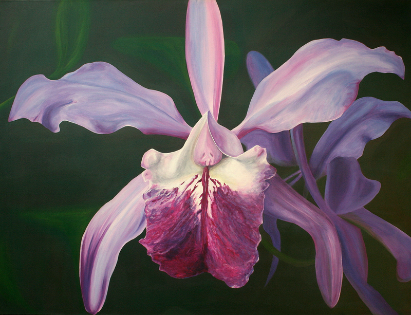(CreativeWork) 'Orchid' Ode to Georgia by Lyndsey Hatchwell. arcylic-painting. Shop online at Bluethumb.