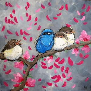 (CreativeWork) Blossom 3 by Sally Ford. arcylic-painting. Shop online at Bluethumb.