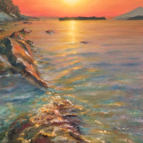 (CreativeWork) Sunset over Adriatic Sea by Sergei Londar. Oil Paint. Shop online at Bluethumb.