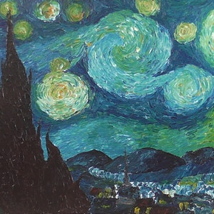 (CreativeWork) Van Gogh: Starry Night (1889) by Wendy Steinberg. arcylic-painting. Shop online at Bluethumb.