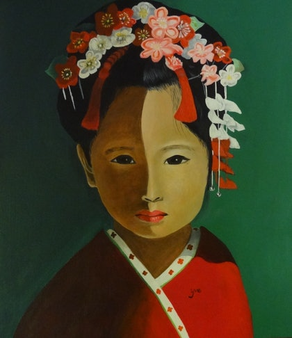 (CreativeWork) Little Geisha by Evelyn James. arcylic-painting. Shop online at Bluethumb.