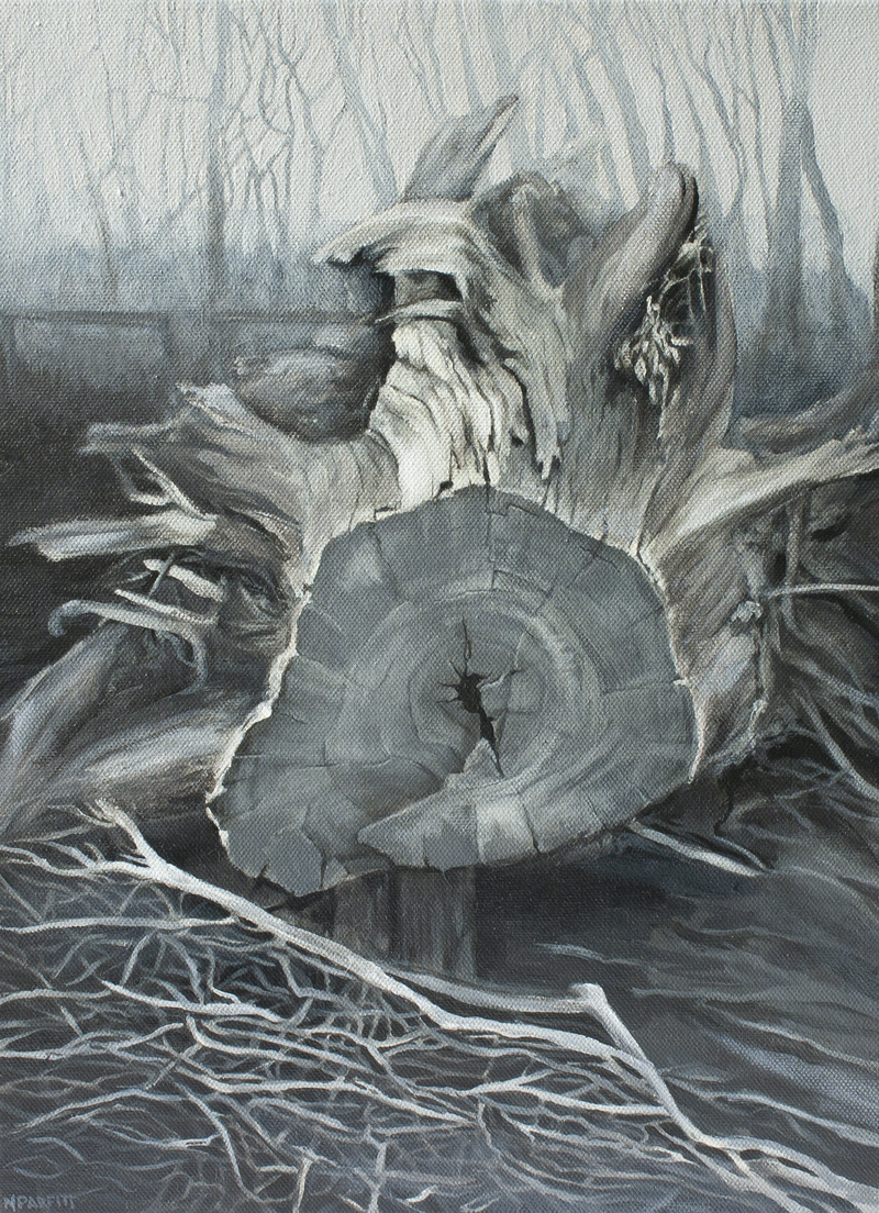 (CreativeWork) Tree fallen (black and white landscape) by Nerrida Parfitt. Acrylic Paint. Shop online at Bluethumb.