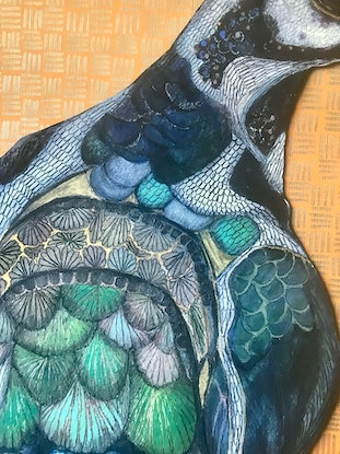 (CreativeWork) Wilfred the Winter Bird.  by Erin Darmanin. Drawing. Shop online at Bluethumb.